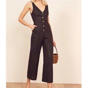 NWT Reformation Vera Black Button Jumpsuit